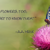 """Weeds are flowers, too, once you get to know them."" ― A.A. Milne"